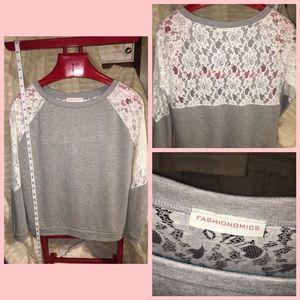 Tops - Lace sweat shirt